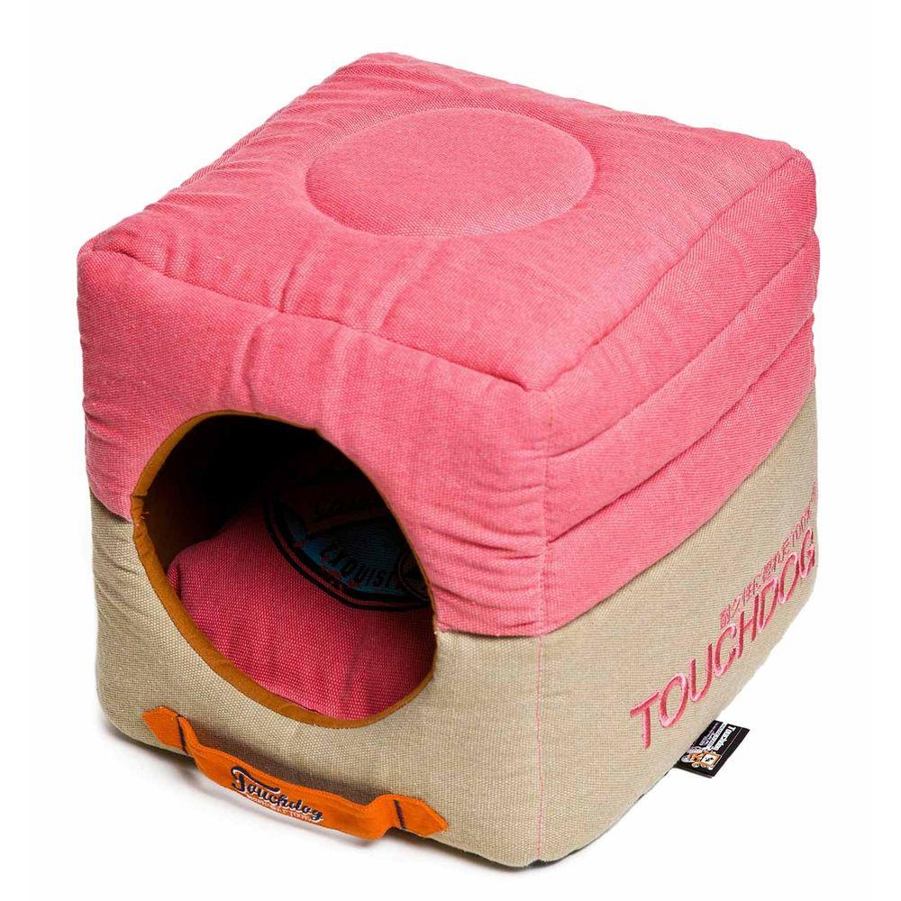 Strange Touchdog Squared 2 In 1 Collapsible One Size Bubblegum Pink And Beige Bed Inzonedesignstudio Interior Chair Design Inzonedesignstudiocom