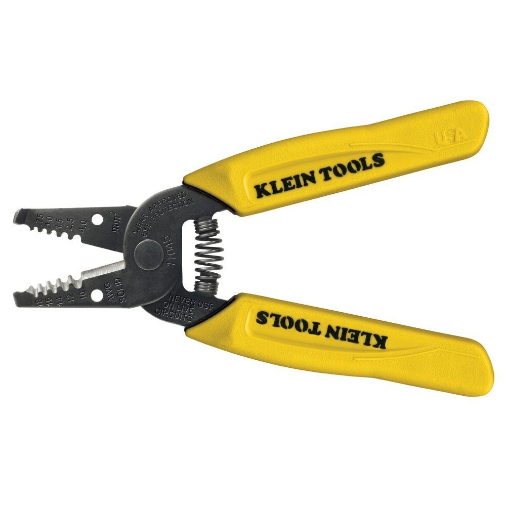Klein Tools 6-1/4 in. Wire Stripper and Cutter for 10-18 AWG Solid ...
