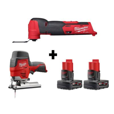 M12 FUEL 12-Volt Lithium-Ion Cordless Oscillating Multi-Tool and Jig Saw with two 3.0 Ah Batteries