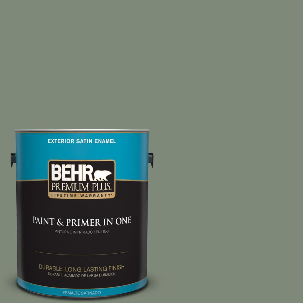 BEHR Premium Plus 1-gal. #450F-5 Amazon Moss Satin Enamel Exterior Paint, Greens