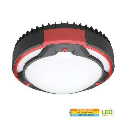 Heavy Duty 9 in. Round Black & Red 80 Watt Equivalent Integrated LED Flushmount with Color Temperature Changing Feature