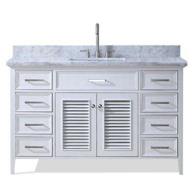 Kensington 55 in. Vanity in White with Marble Vanity Top in Carrara White with White Basin