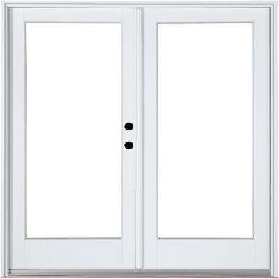 72 In. X 80 In. Fiberglass Smooth White Left Hand Inswing Hinged Patio