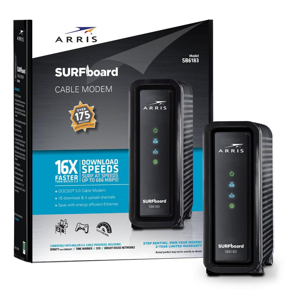 ARRIS SURFboard DOCSIS 3.0 Cable Modem SB6183 in Black-592432-009-00 ...
