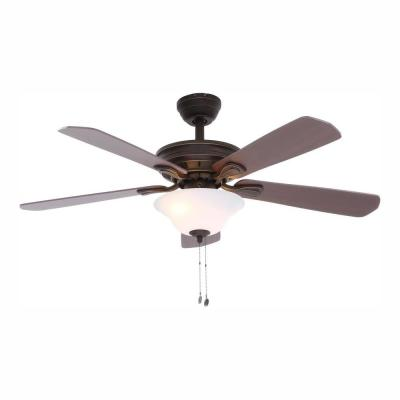 Wellston 44 in. LED Indoor Oil Rubbed Bronze Ceiling Fan with Light Kit