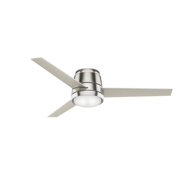 Commodus 54 in. Integrated LED Low Profile Indoor Brushed Nickel Ceiling Fan with Light Kit and Remote Control