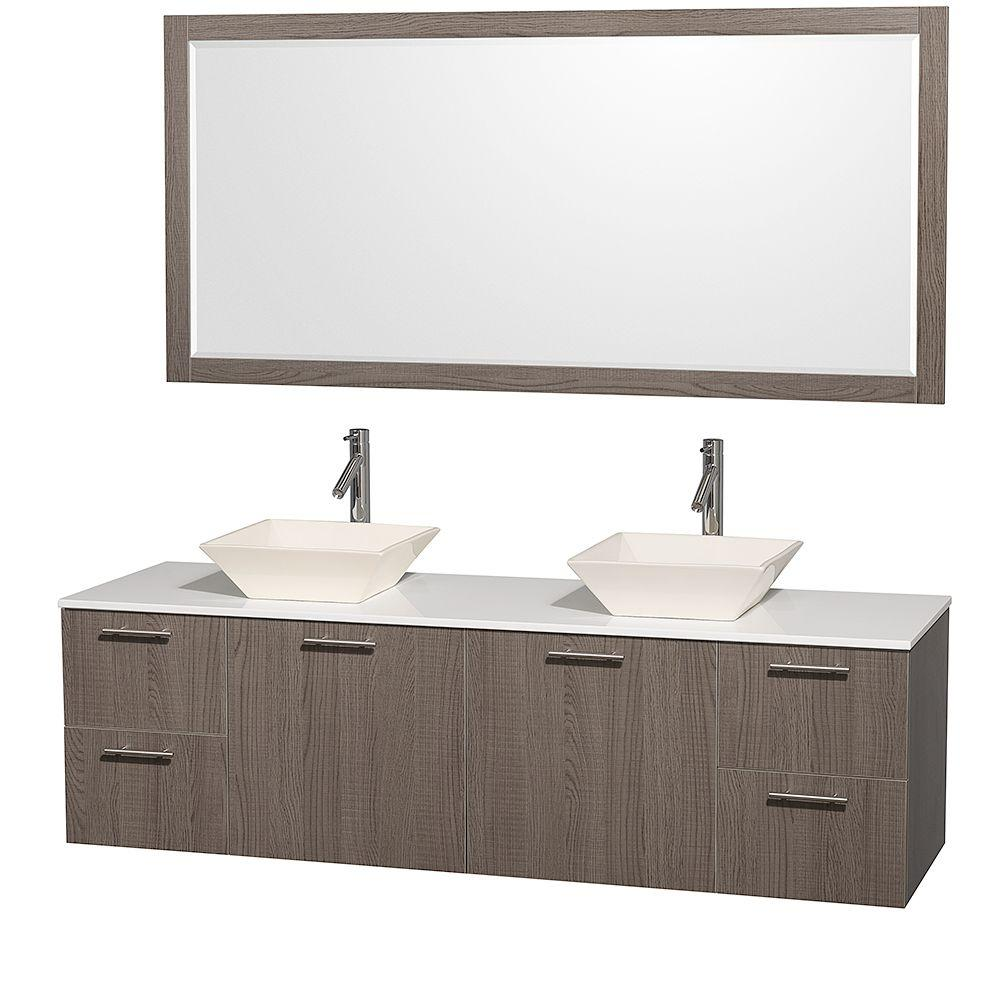 Wyndham Collection Amare 72 in. Double Vanity in Grey Oak with Glass Vanity Top in White and Porcelain Sink