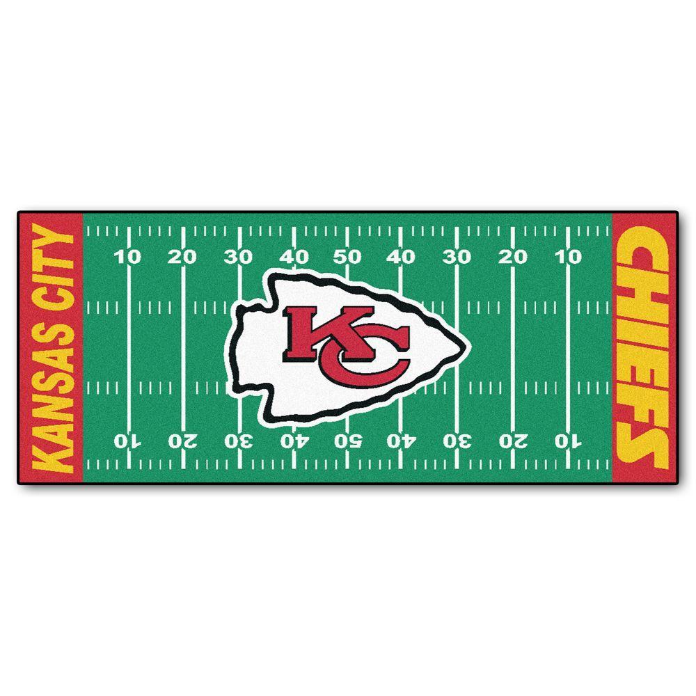 0fad9c76 FANMATS Kansas City Chiefs 3 ft. x 6 ft. Football Field Rug Runner Rug