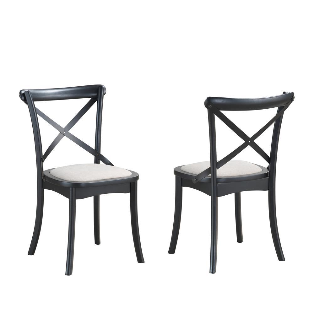 Lindsay Black X Back Upholstered Dining Chair Set Of 2 Cl2318u Blkbg The Home Depot