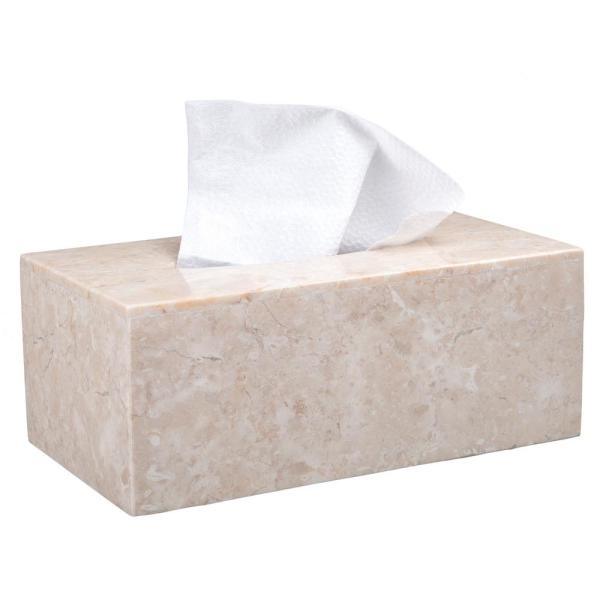 Creative Home Natural Champagne Marble Rectangular Tissue Box Holder Tissue Box Cover Bathroom Countertop Kitchen Table Organizer 33055 The Home Depot