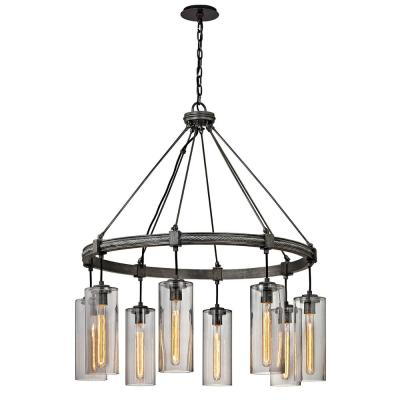 Union 8-Light Graphite Square Pendant with Smoke Glass Shade