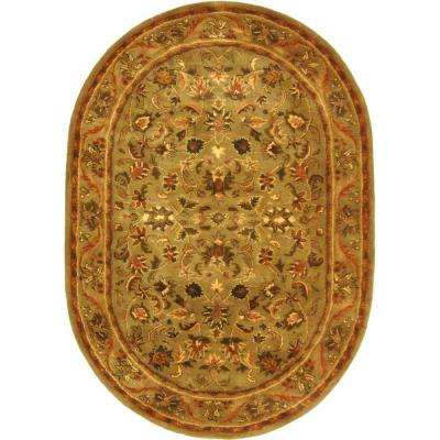 Antiquity Olive/Gold 4 ft. 6 in. x 6 ft. 6 in. Oval Area Rug