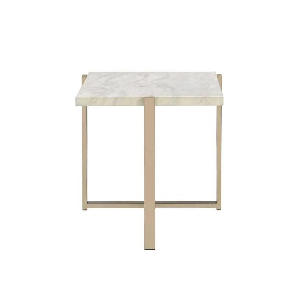 Acme Furniture Feit Chrome and White End Table 83107