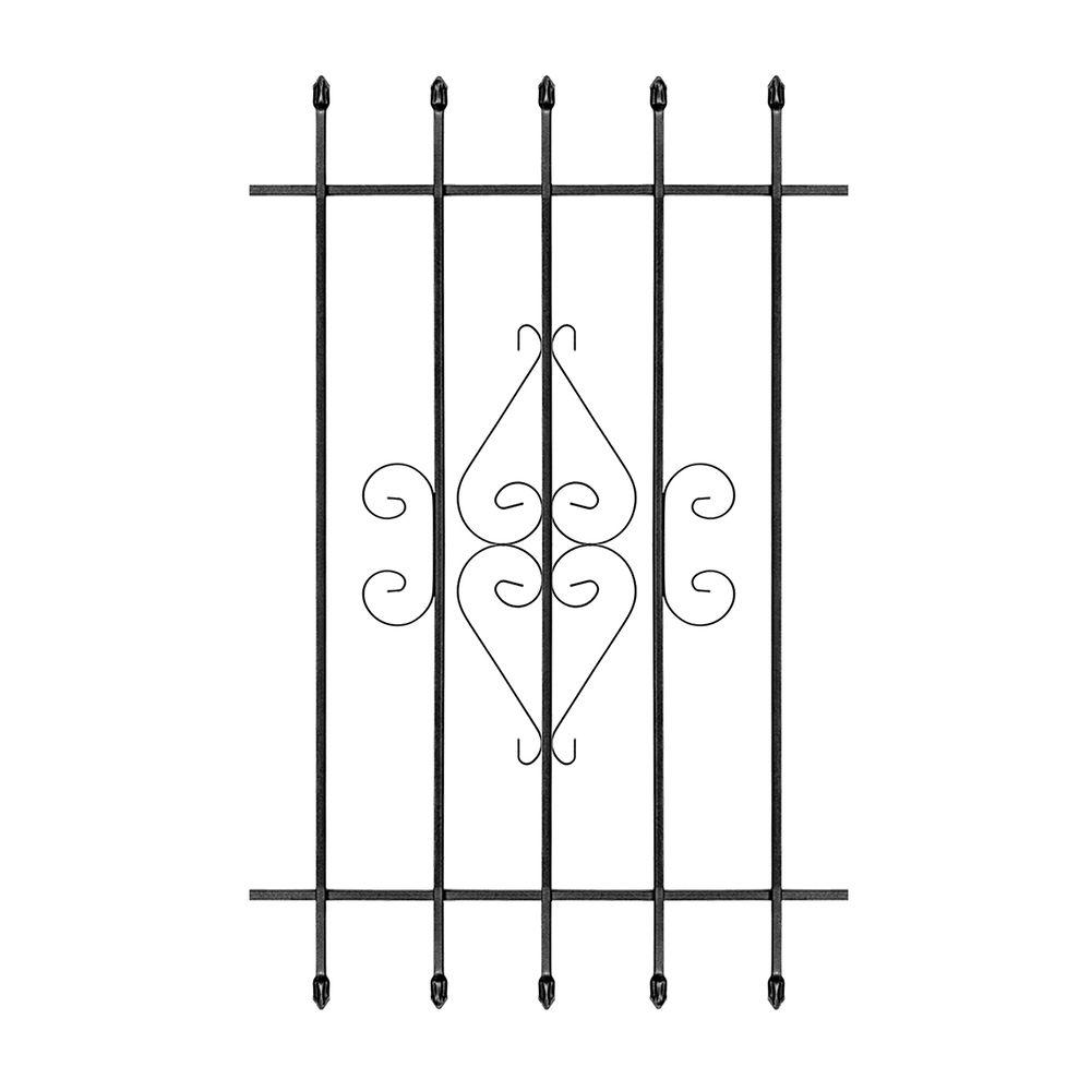 Unique Home Designs 30 in. x 48 in. Su Casa Black 5-Bar Window Guard