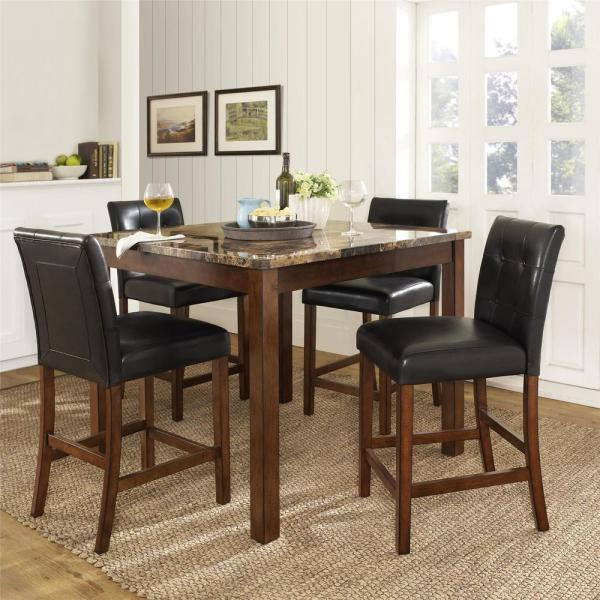 Rectangular Faux Marble Top Table And 4 Leather Chairs For Kitchen Room Lumisol 5 Piece Dining Table Set For Small Space Table Chair Sets Zuiverlucht Home Kitchen