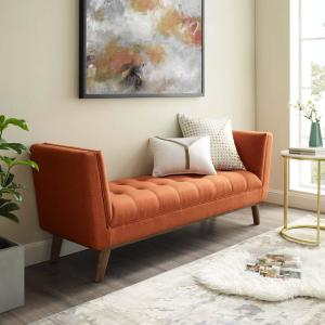MODWAY Haven Orange Tufted Button Upholstered Fabric Accent ...