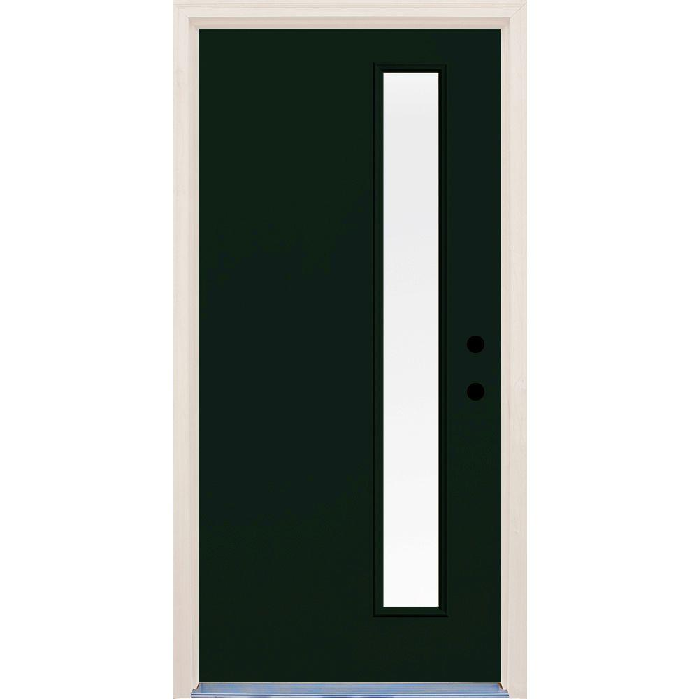 Builder's Choice 36 in. x 80 in. Fairway 1 Lite Clear Glass Painted Fiberglass Prehung Front Door with Brickmould
