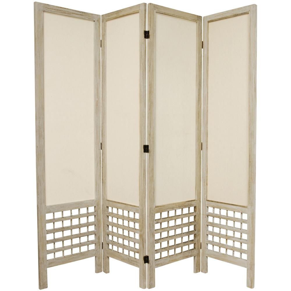 Oriental 6 ft. Burnt White Open Muslin 4-Panel Room Divider