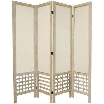 6 ft. Burnt White Open Muslin 4-Panel Room Divider