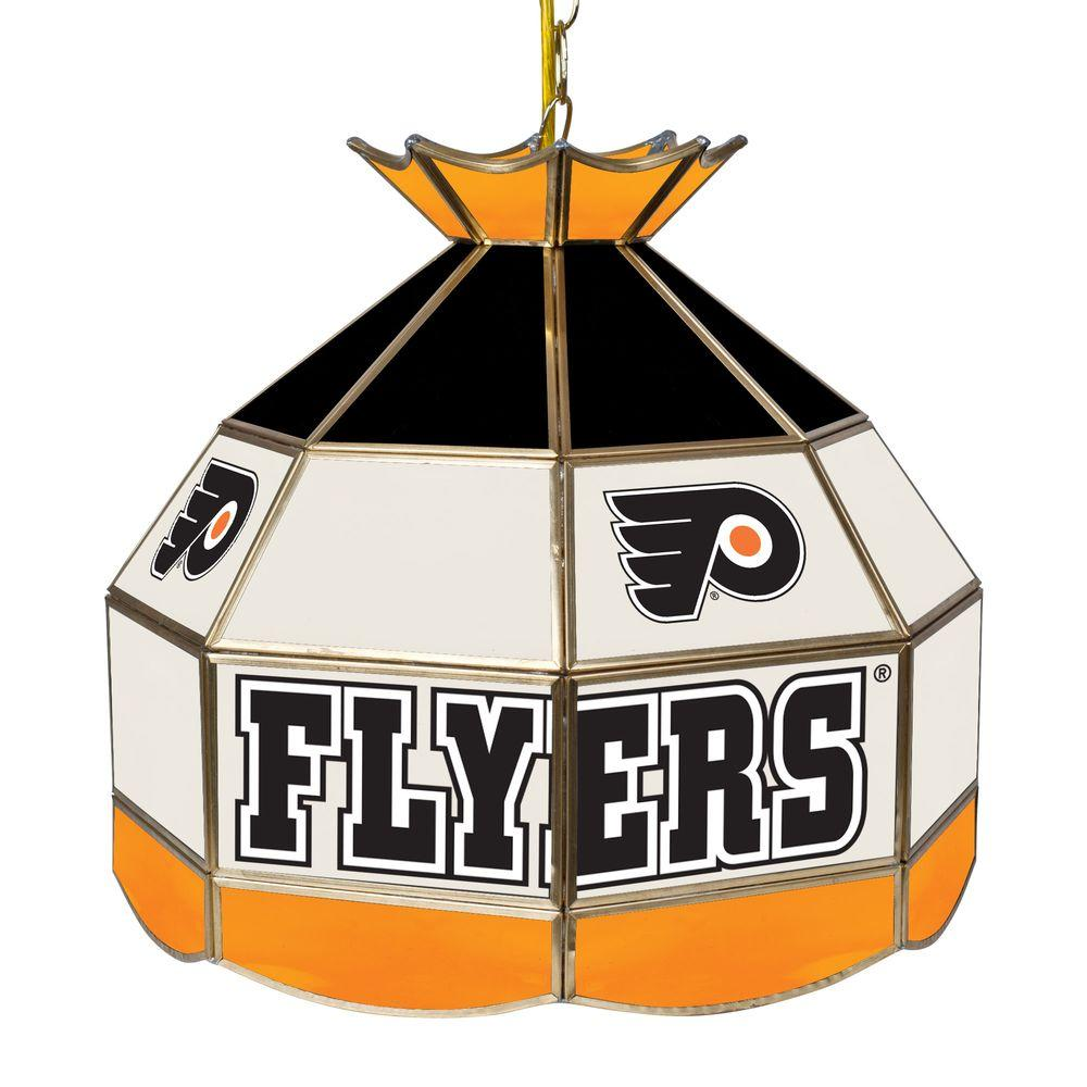 Trademark Global NHL Philadelphia Flyers 1-Light 16 in. Gold Hanging Tiffany Style Billiard Lamp