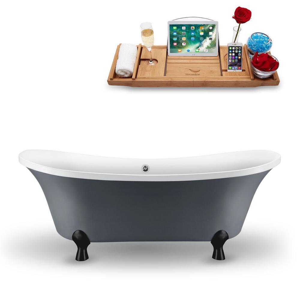 68 in. Acrylic Fiberglass Clawfoot Non-Whirlpool Bathtub in Grey