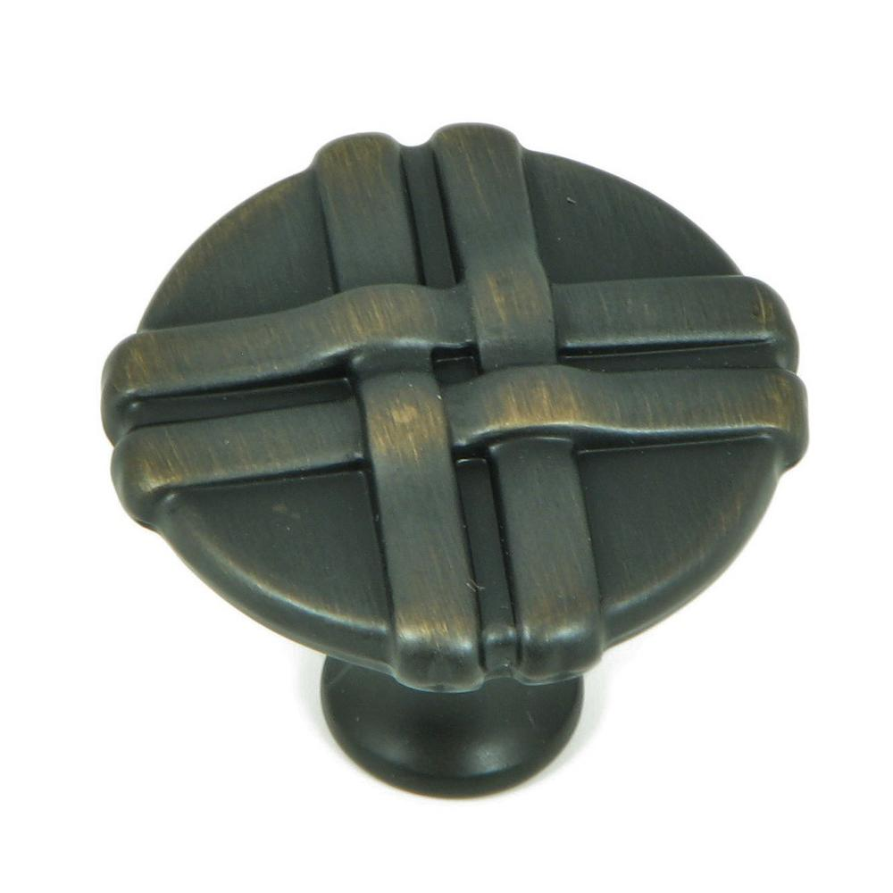 Stone Mill Hardware 1-3/8 in. Oil Rubbed Bronze Weave Cabinet Knob ...