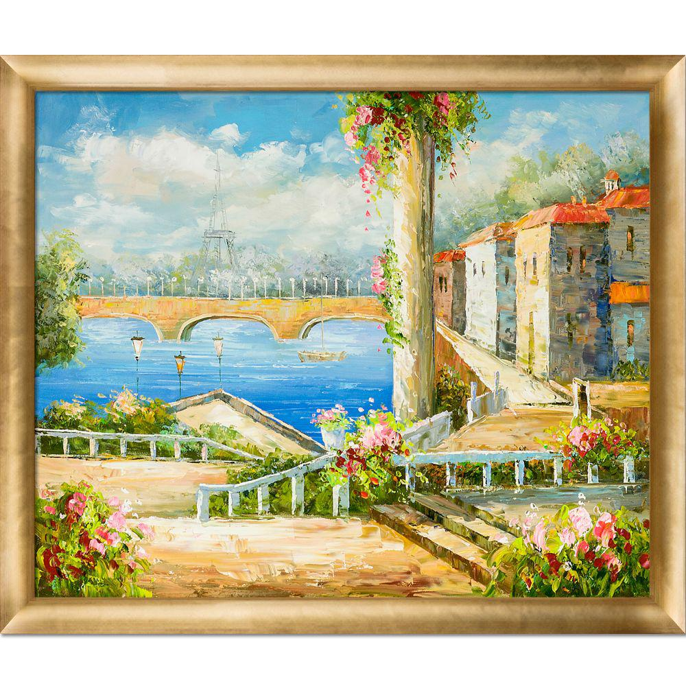 LA PASTICHE Resort Near The Eiffel with Gold Luminoso Frameby Unknown Artists Oil Painting, Multi-Colored was $846.0 now $371.4 (56.0% off)