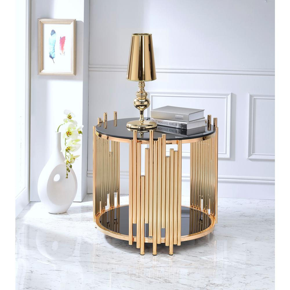 acme furniture tanquin black glass and gold end table