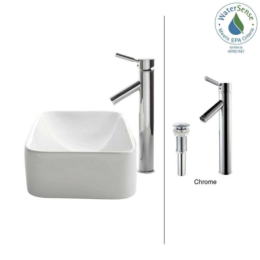 Soft Rectangular Ceramic Vessel Sink in White with Sheven Faucet in