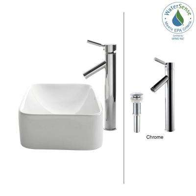 Soft Rectangular Ceramic Vessel Sink in White with Sheven Faucet in Chrome