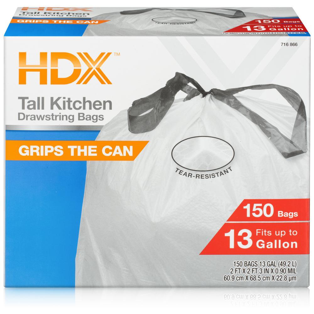 13 Gal. White Drawstring Kitchen Trash Bag (150 Count)