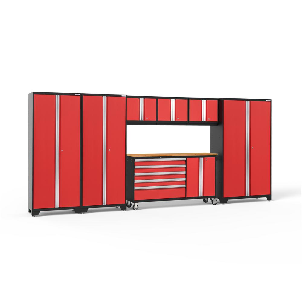 NewAge Products Bold Series 174 in. W x 77.25 in. H x 18 in. D 24-Gauge Welded Steel Garage Cabinet Set in Red (7-Piece)