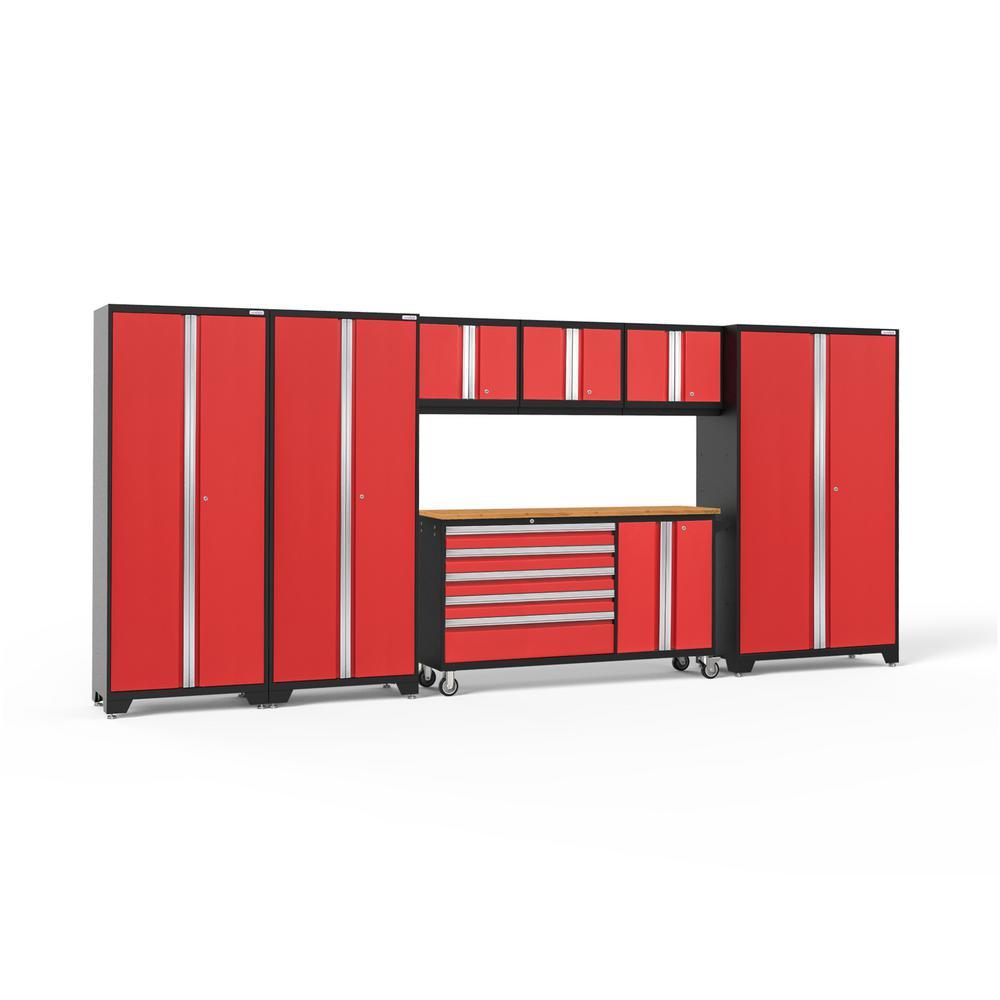 Bold 3.0 77.25 in. H x 174 in. W x 18 in. D 24-Gauge Welded Steel Garage Cabinet Set in Red (7-Piece)