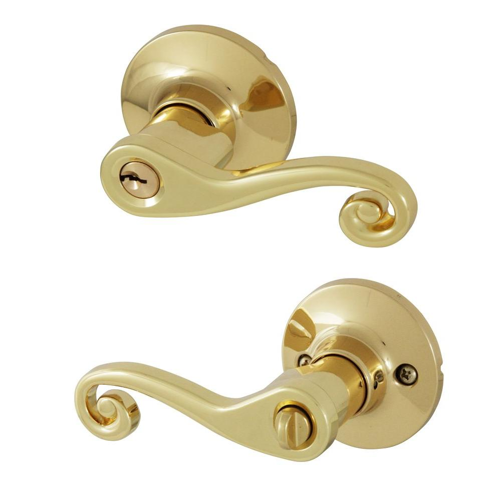 Honeywell Scroll Polished Brass Keyed Entry Door Lever