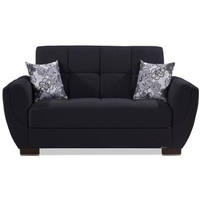 Armada Air Dark Blue Fabric Upholstery Convertible Love Seat with Storage