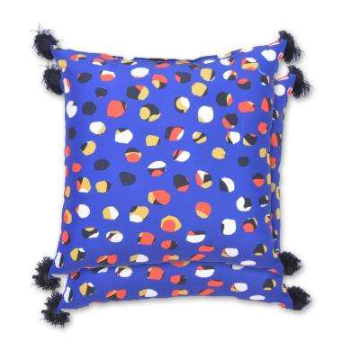 Cobalt Dot Square Outdoor Throw Pillow (2-Pack)