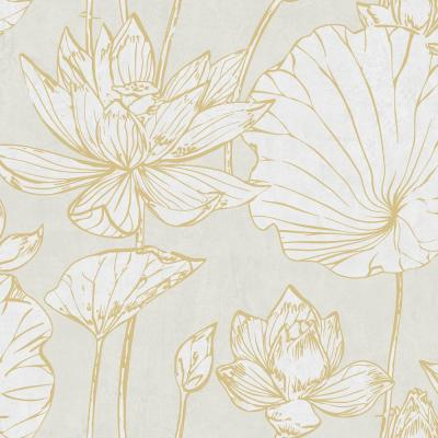 Lotus Metallic Gold and Off-White Floral Wallpaper
