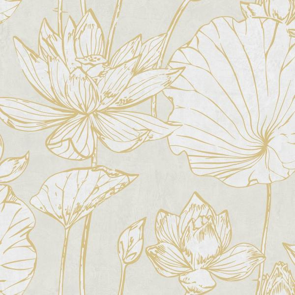 Seabrook Designs Lotus Metallic Gold And Off White Floral