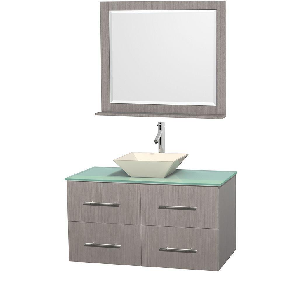Centra 42 in. Vanity in Gray Oak with Glass Vanity Top in Green, Bone Porcelain Sink and 36 in. Mirror