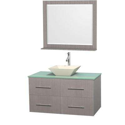 Centra 42 in. Vanity in Gray Oak with Glass Vanity Top in Green, Bone Porcelain Sink and 36 in. Mirror