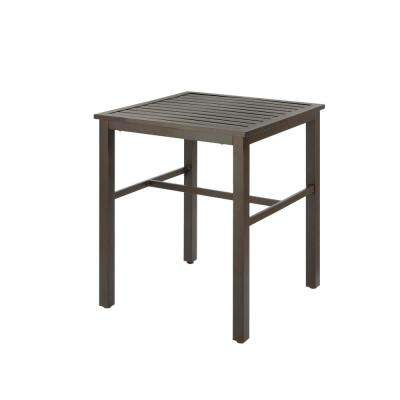 Mix and Match Metal Balcony Height Outdoor Bistro Table with Slat Top
