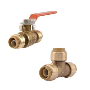 1/2 in. Push-to-Connect Brass Ball Valve and 1/2 in. Push-to-Connect Brass Tee Fitting