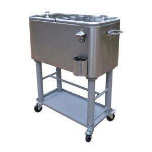 Click here to buy  Stainless Steel 20 Gal. Cooler Cart, Thick Insulation, Drain System, Bottle Opener, Bottle Cap Catcher and Lock Wheels.
