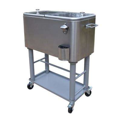 Stainless Steel 20 Gal. Cooler Cart, Thick Insulation, Drain System, Bottle Opener, Bottle Cap Catcher and Lock Wheels