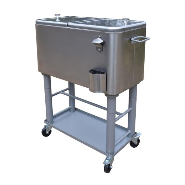 Locking Wheels Drain Plug Best Choice Products 80-Quart Steel Outdoor Rolling Cooler Cart w// Bottle Opener and Catch Tray