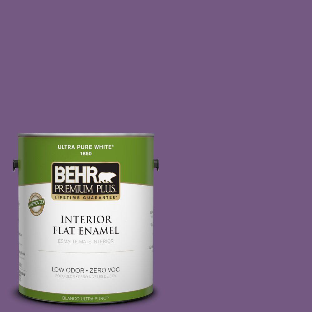 BEHR Premium Plus 1-gal. #650B-7 Mystical Purple Zero VOC Flat Enamel Interior Paint-DISCONTINUED