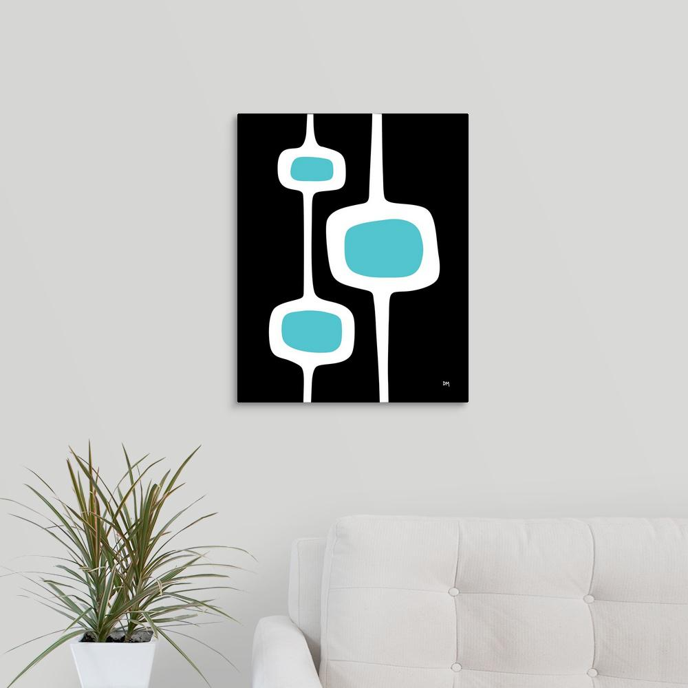 """Mod Pod Three White on Black with Turquoise"" by Donna Mibus"
