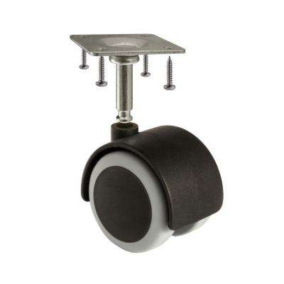 2 in. Rubber Castor Wheels 2 in. Diameter Wheels, Black/Gray, Pack of 4.