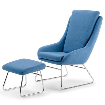 Carwyn 26 in. Wide Blue Woven Fabric Modern Accent Chair with Footstool