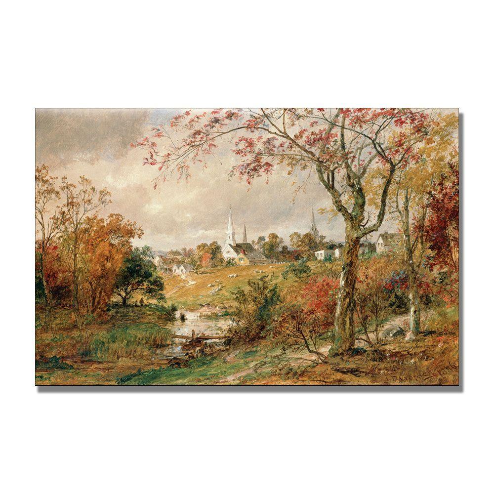 Trademark Fine Art 22 in. x 32 in. Autumn Landscape by Jasper Cropsey Canvas Art